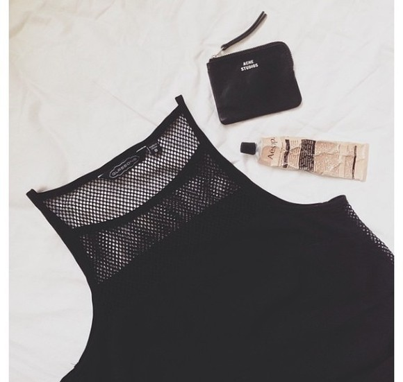 mesh tank top black high neck