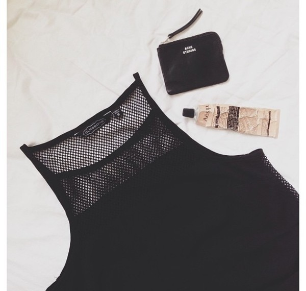 tank top mesh black high neck