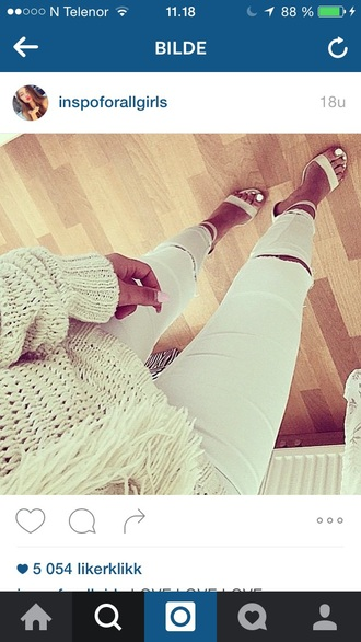 shoes white outfit outfit idea summer summer outfits girly jeans ripped jeans white ripped jeans ripped skinny jeans