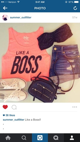 shirt boss quote on it pink tank top crop tops cut out crop top tumblr shirt summer outfits summer summer top fashion style