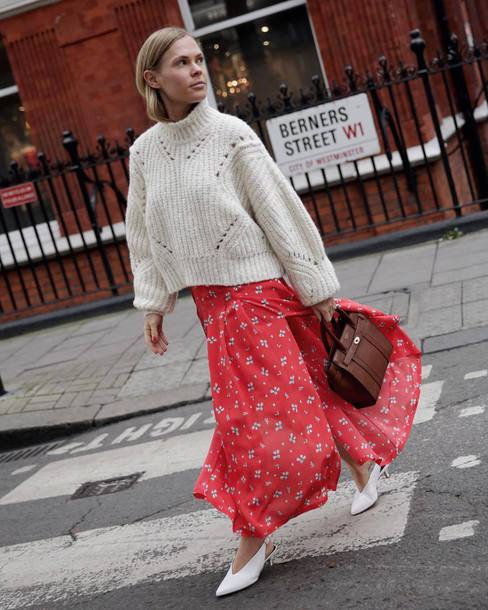 sweater tumblr white sweater knit knitwear knitted sweater skirt maxi skirt red skirt shoes white shoes bag brown bag
