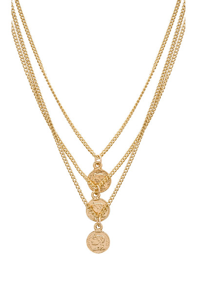 joolz by Martha Calvo Triple Tribute Coin Necklace in gold / metallic