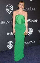 dress,strapless,green dress,golden globes 2017,strapless dress,hilary duff