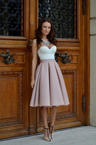 skirt peach style top champagne dress outfit summer dress hair shoes