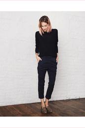 le fashion image,blogger,sweater,cropped pants,minimalist,loafers,boyish,french girl style