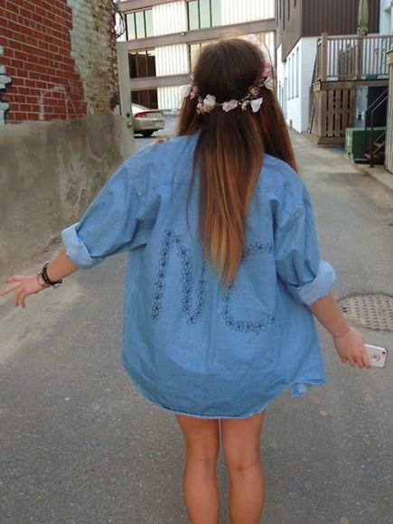jewels floral headband flowers summer acessories jacket hat blouse jeans oversized blue blue jeans no flower jacket denim light blue black writing shirt hipster flannel shirt flannel