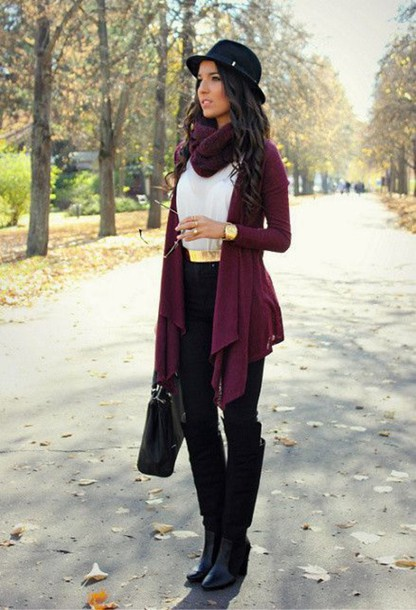 ac16e403b180 blouse cute city outfits casual fall outfits burgundy black and white gold  hat boots belt scarf