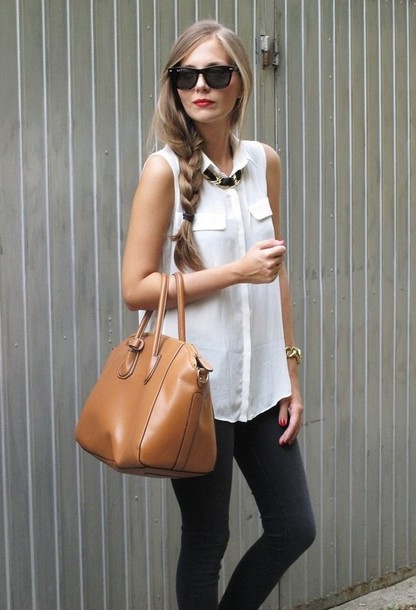 Blouse sleeveless blouse chiffon blouse white blouse blogger celebrity fashion fashion Celebrity style fashion boutique