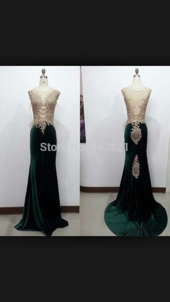 dress green prom dress velvet dress
