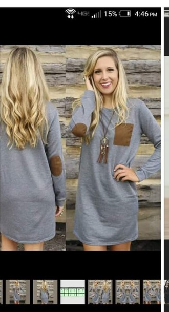 dress gray cotten dress with brown pocket