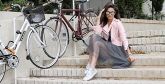 street chic geek blogger tulle skirt tulle dress pink jacket