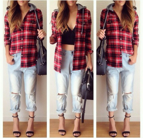 black and red hot flannel shirt flannel jeans fashion cardigan tank top shirt