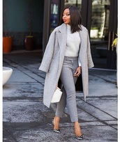 coat,grey coat,grey jeans,sweater,grey sweater,pumps,monochrome outfit,all grey everything,jeans,pointed toe pumps