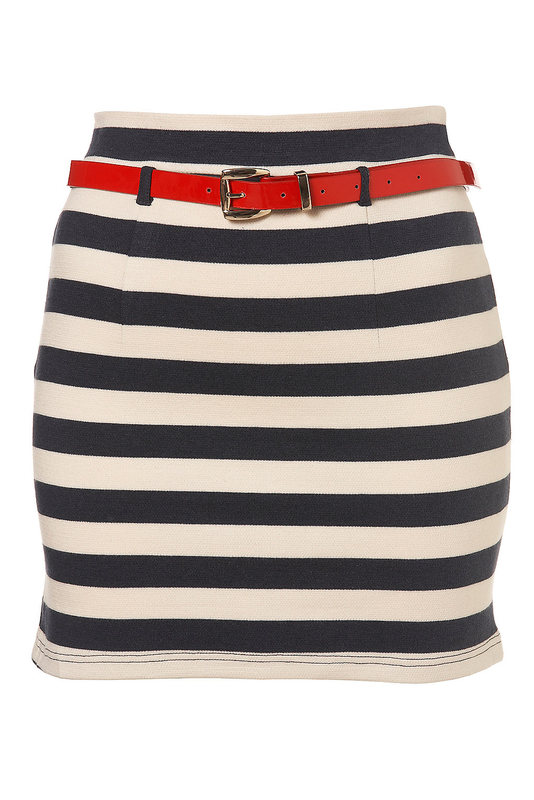 Topshop striped bodycon skirt nautical blue cream size 12 without belt