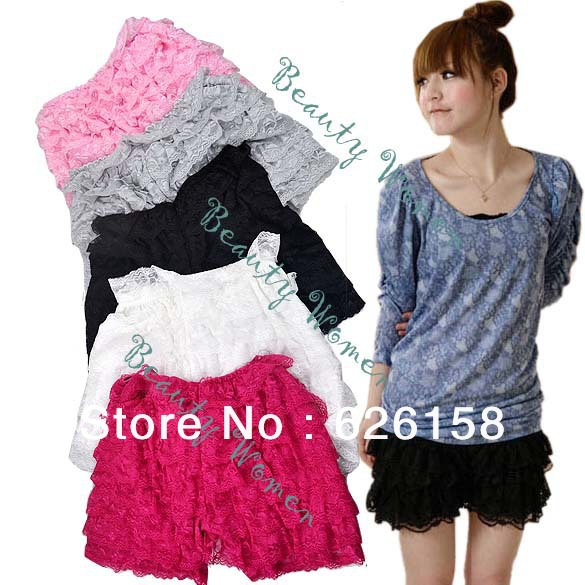 Women Fashion Nice Safety 8 Layers Lace Shorts Trousers Leggings Pants 5colors dropshipping 3754-in Shorts from Apparel & Accessories on Aliexpress.com