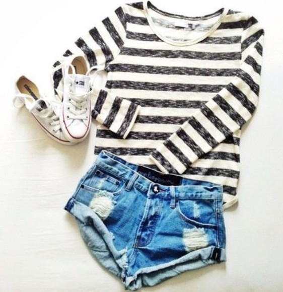shirt striped shirt black and white shorts long sleeve