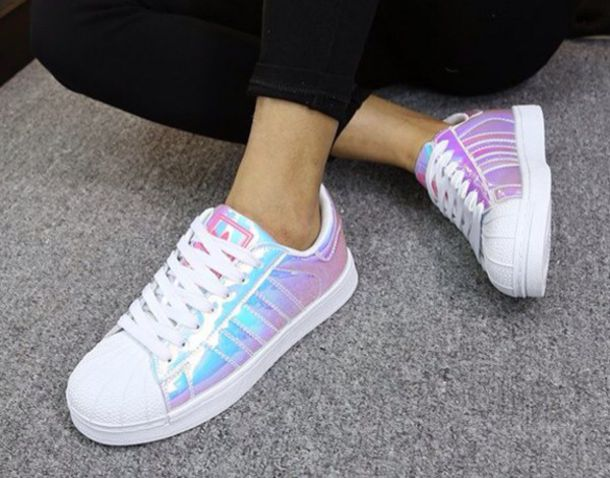 shoes superstar holographic adidas girly girl girly wishlist adidas shoes adidas superstars adidas originals holographic shoes hologram sneakers