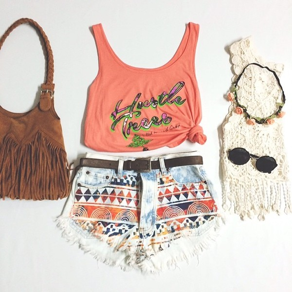 belt printed shorts brown skinny belt tank top bag hat blouse shirt shorts summer pretty peace sign peach dress cute