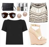 black,shirt,crop tops,classy,beaded,skirt,pencil skirt,dior,pink,peach,white,gold,sequins,Sequin shorts,sequin skirt,shoes,outfit,black t-shirt