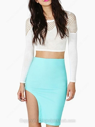 skirt bodycon dress bodycon skirt neon neon skirt bright bright colored bright skirt asymmetrical turquoise turquoise skirt mint mint skirt mint green skirt high waisted skirt high waisted