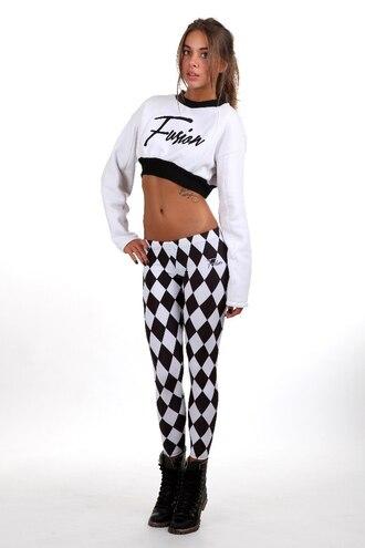 leggings printed leggings chess black and white black white print geometric crop tops