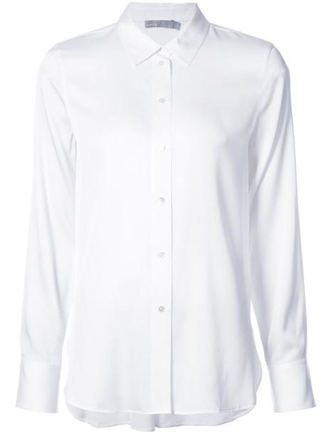 shirt long women spandex white silk top