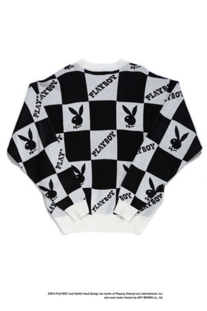 sweater playboy sweater black and white checkered playboy