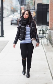 coco and vera,blogger,blanket scarf,grid,ripped jeans,striped top,jacket,t-shirt,bag,jeans,shoes,scarf,jewels