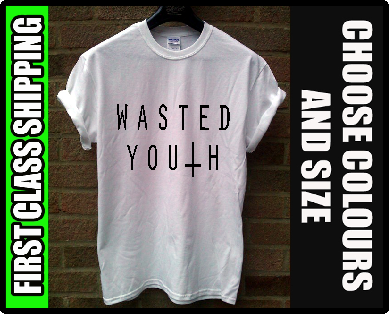 WASTED YOUTH T SHIRT INVERTED CROSS SWAG DOPE HIPSTER TOP RUM BNWT INDIE FUNNY