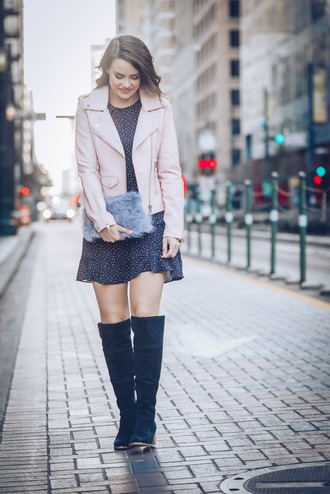 live more beautifully blogger jacket dress shoes bag pink jacket furry bag mini dress knee high boots boots valentines day date dress date outfit over the knee boots furry pouch