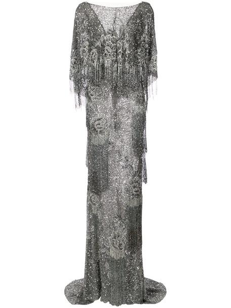 Marchesa gown women silk grey metallic dress