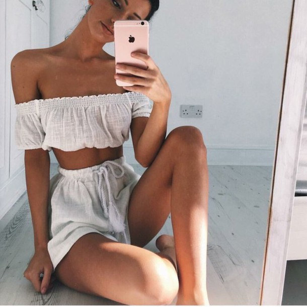 top white summer outfits off the shoulder crop tops flowy jumpsuit two piece dress set two-piece romper off the shoulder top shorts summer outfits High waisted shorts white shorts