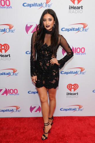 dress black dress prom dress mini dress lace dress shay mitchell see through dress sandals