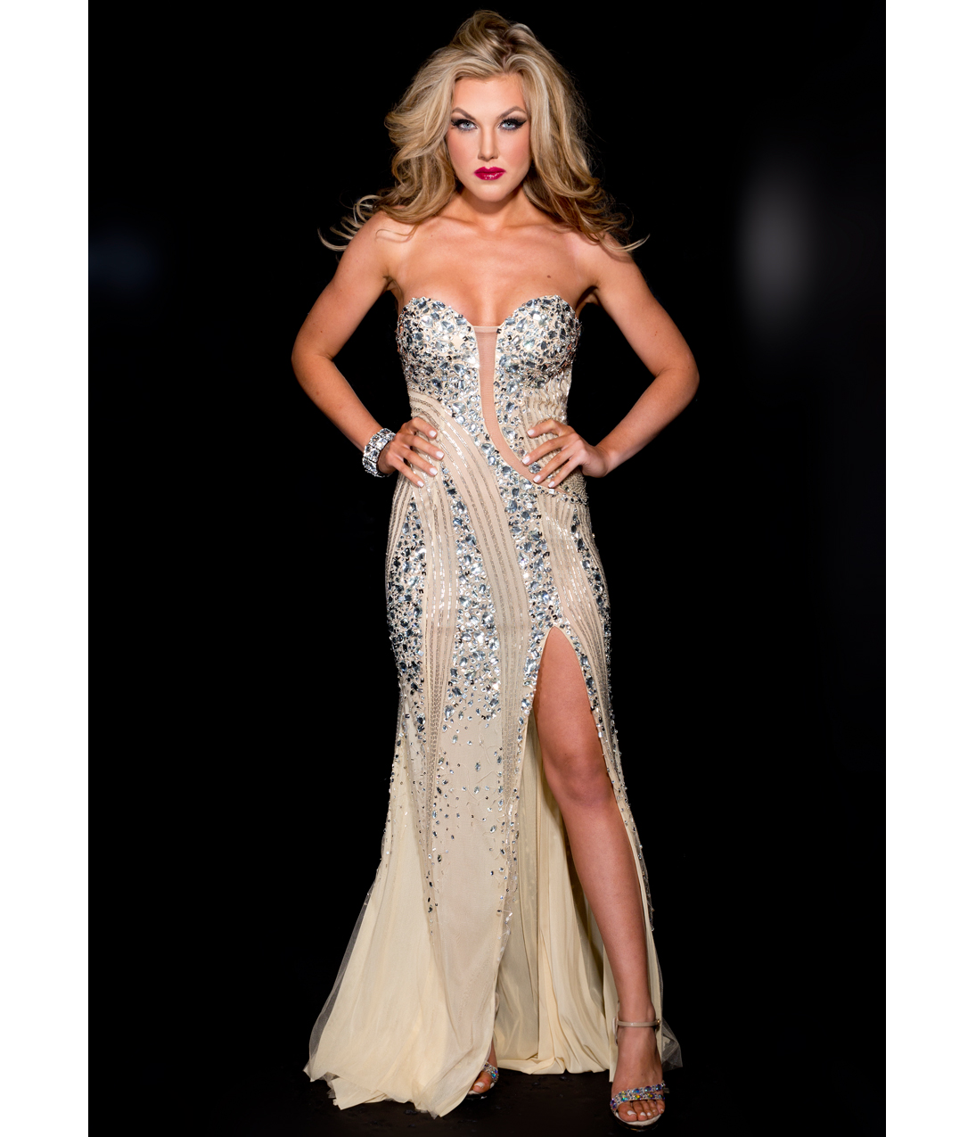 Strapless nude & silver sexy rhinestoned prom gown