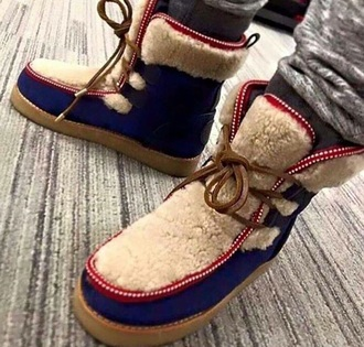 shoes blue boots fur