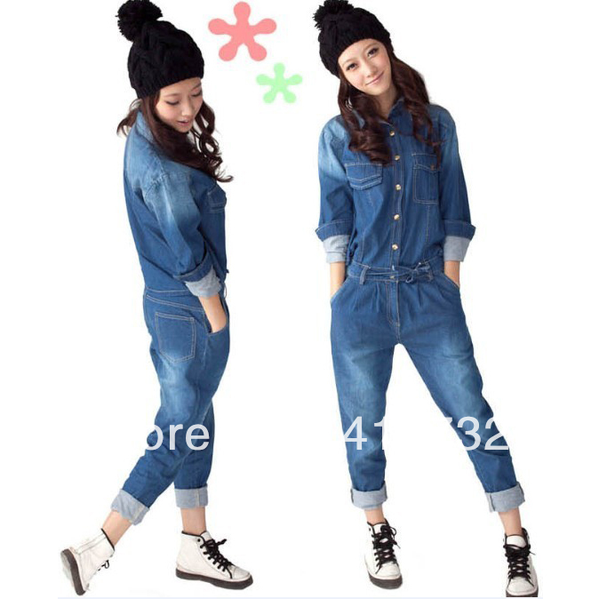 Free Shipping 2013 New Arrival Denim Jumpsuit For Women Detachable At Back With Long Sleeve Spring Autumn Casual Jeans Trousers-inJumpsuits & Rompers from Apparel & Accessories on Aliexpress.com