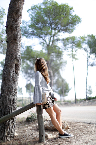 b a r t a b a c blogger sweater skirt shoes bag sunglasses jewels fall outfits bell sleeves mini skirt bell sleeve sweater sneakers nude bag