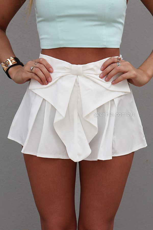 PRE ORDER - BOW SHORTS (Expected Delivery 26th March, 2014) , DRESSES, TOPS, BOTTOMS, JACKETS & JUMPERS, ACCESSORIES, 50% OFF SALE, PRE ORDER, NEW ARRIVALS, PLAYSUIT, COLOUR, GIFT VOUCHER,,SHORTS,White,MINI Australia, Queensland, Brisbane