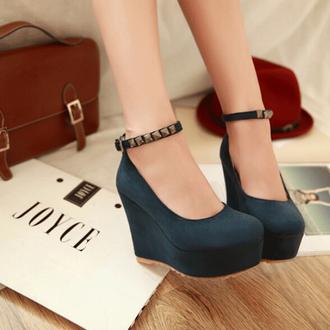 shoes lolita platform shoes high heels fashion style cool studs platform shoes blue cute kawaii trendy fall outfits