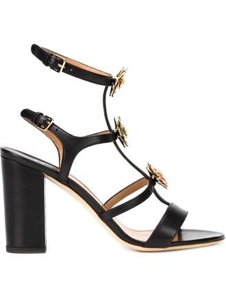women embellished sandals leather black shoes