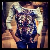 blouse,sweatshirt,long sleeves,o neck,pullover,3d sweatshirts,leopard print,white,beige,sportswear,loose,casual,fashion