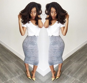 skirt grey grey skirt bodycon skirt midi skirt