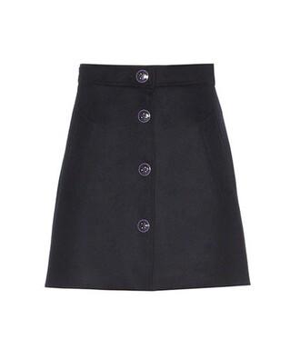 skirt wool blue