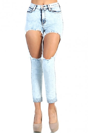 LoveMelrose.com From Harry & Molly | High Waist Acid Mineral Light Wash big hole distressed Denim Jean Pants - Light Blue