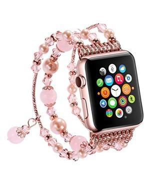 jewels cuff bracelet pink beads apple apple watch bracelets rose quartz