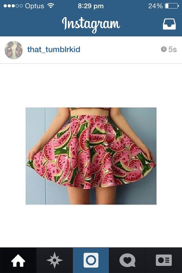 skirt skirt watermelon cute tumblr