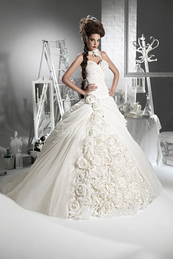 Strapless brush train chiffon ball gown natural waist wedding dress