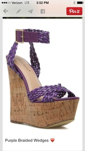 shoes,purple braided wedges