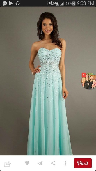 dress prom dress long prom dress strapless sparkly dress sweetheart dress mint dress