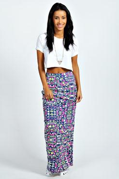 Lena Neon Geometric Maxi Skirt at boohoo.com